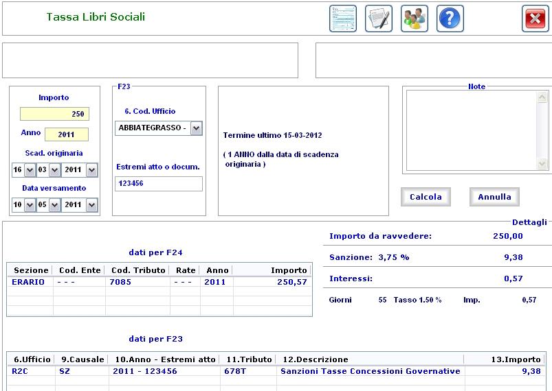 Ravvedimento operoso tassa libri sociali omesso o for Calcola imposta di registro